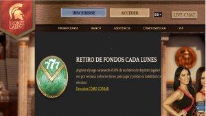 Bronze Casino tiene 10% de reembolso por retiro de fondos los lunes