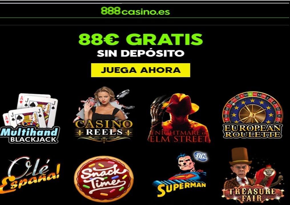 Bono por registro sin depósito hasta de 88 euros Casino 888