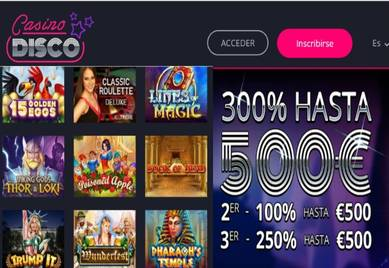 300% hasta por 500 euros por depósitos en Casino Disco