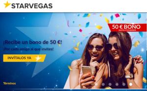 Bono de bienvenida Casino Starvegas de hasta el 100%