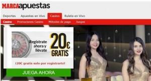 Obtenga 20 euros por bono de registro Marca Apuestas